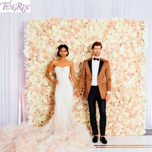 FENGRISE 40*60cm Rose Silk Flower Wall Wedding Artificial Decoration Dried Backdrop Decor