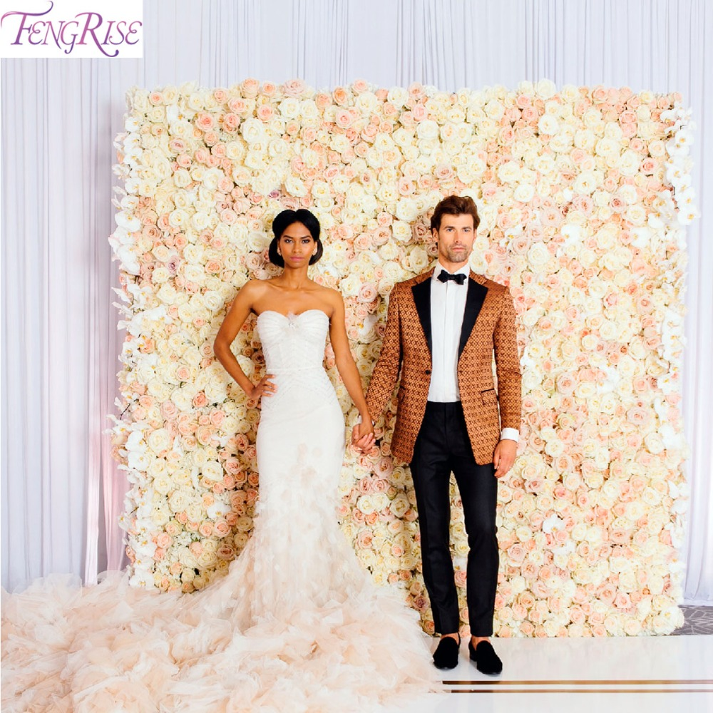 FENGRISE 40*60cm Rose Silk Flower Wall Wedding Artificial Decoration Artificial Dried Flower Wall Flower Backdrop Wedding Decor