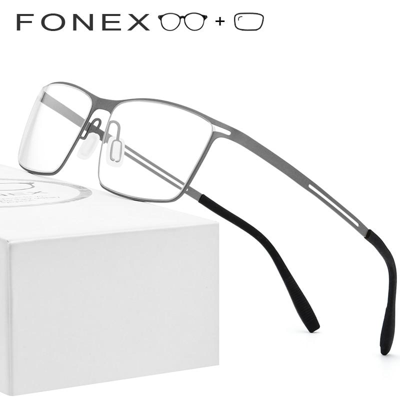 faf6c21bd6a B Titanium Prescription Glasses Frame Men Semi Rimless Eyeglasses 2019  Ultralight Myopia Optical Frames Screwless Eyewear