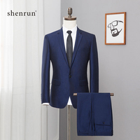 ShenRun 2019 Blue 2 Pieces Mens Suits Plaid Slim Fit Wedding Suit Groom Tweed Wool Tuxedos for Wedding / Business (Jacket+Vest)
