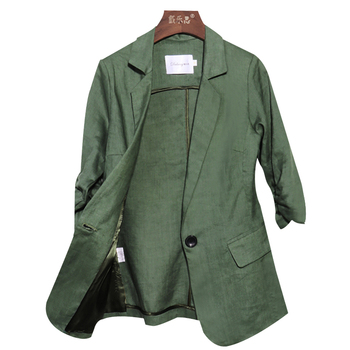 Linen small suit female pioneer jacket thin fashion temperament commuter seven-point sleeves Slim casual cotton