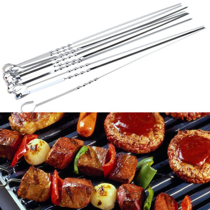 10pcs Stainless Steel Barbecue Skewers Needle BBQ Meat Needle Kebab Sticks For Outdoor Camping Summer BBQ Picnic Tools