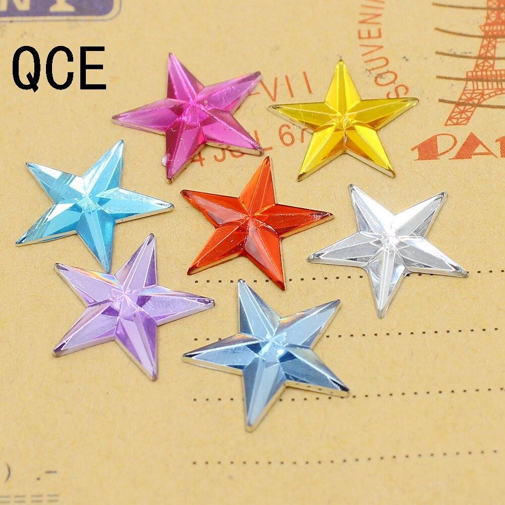 Новинка 15 мм 100 шт./лот много цветов пятиконечная звезда с плоским основанием Акриловые стразы для украшения «сделай сам»