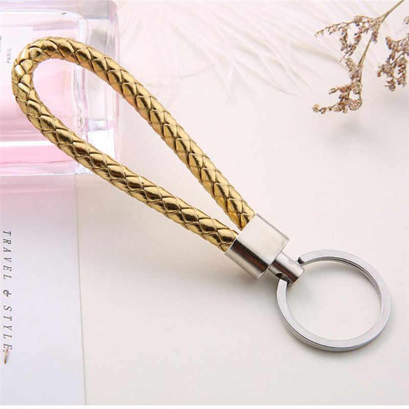 Популярный кожаный брелок для ключей в виде троса ручной вязки, креативный подарок для мужчин и женщин, автомобильный брелок, бесплатная доставка