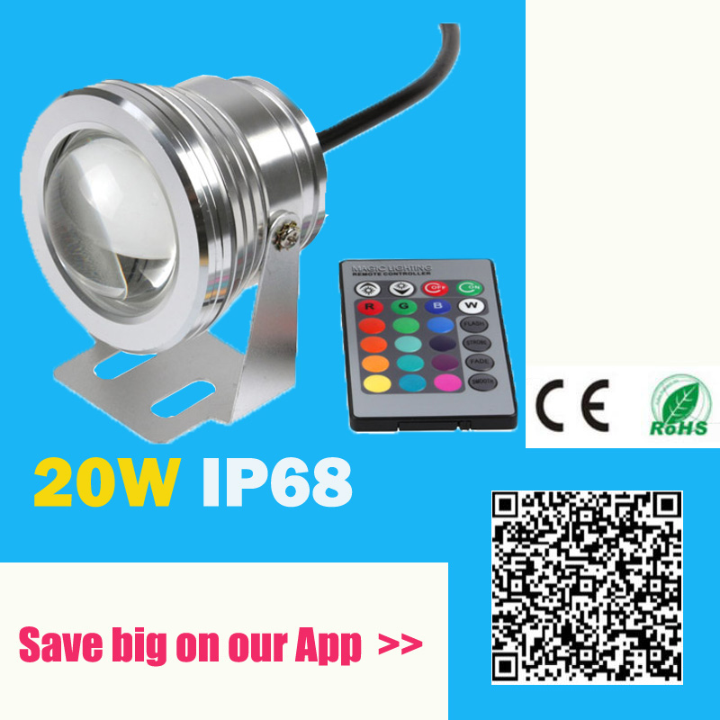 20W 12V Led RGB Undervatten Spot Light Vattentät IP68 Fountain Pool Lampa 16 Färgglatt Ändra Med IR Remote Piscina Outdoor Light