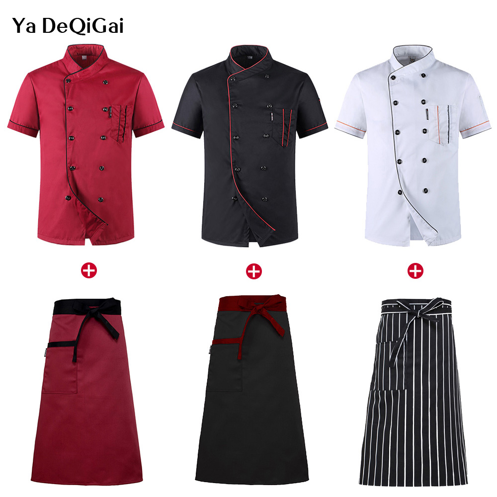 Wholesale Unisex Restaurant Kitchen Chef Uniform Shirt Breathable Double Breasted Chef Jacket+cap+apron Works Clothes For Men