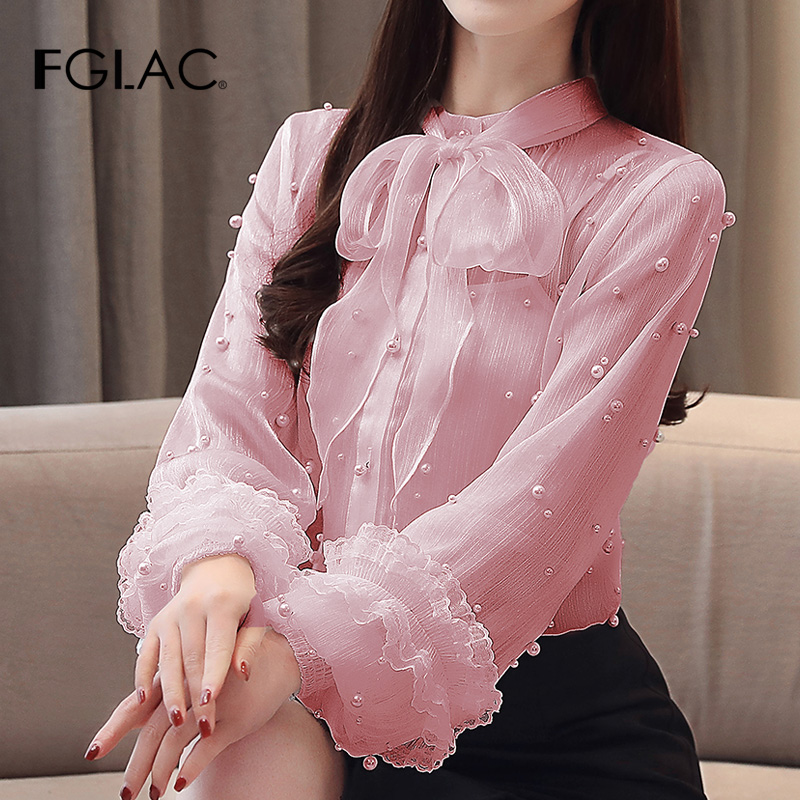 FGLAC Women   blouse     shirt   Fashion Casual long sleeve Beading chiffon   shirt   Elegant Slim Office lady   shirt   New 2019 Spring blusas