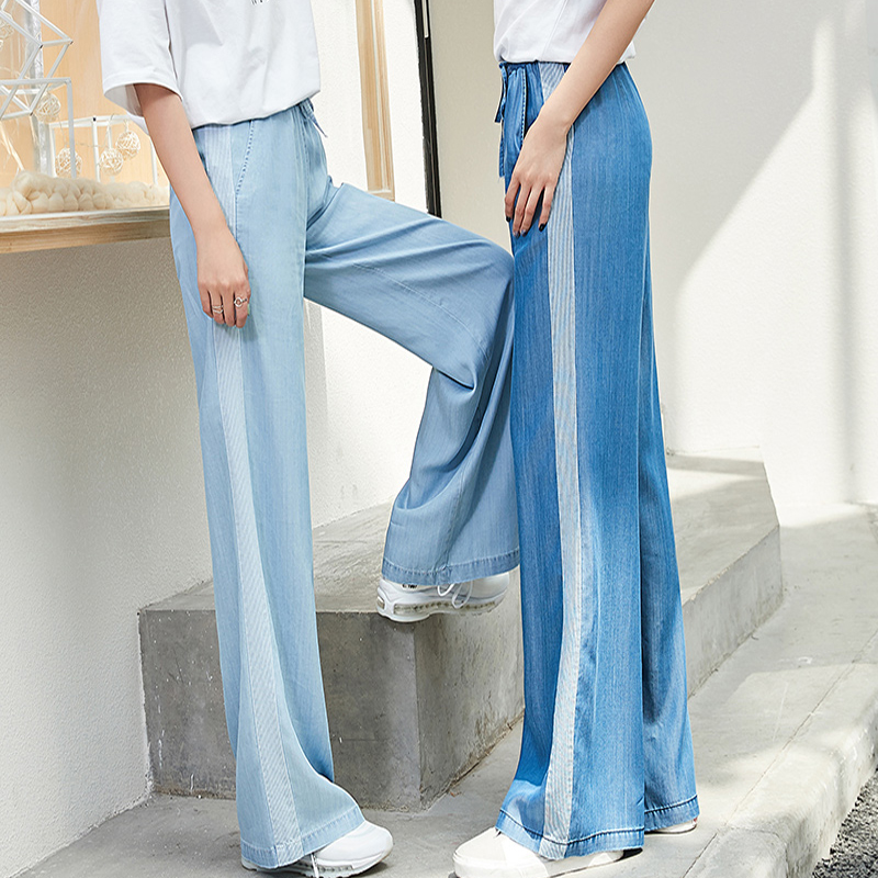 Women High Waist Tencel   Jeans   Elastic Waist Blue Self Belted Wide Leg Pants 2019 Summer Workwear Denim   Jeans   Minimalist   Jeans