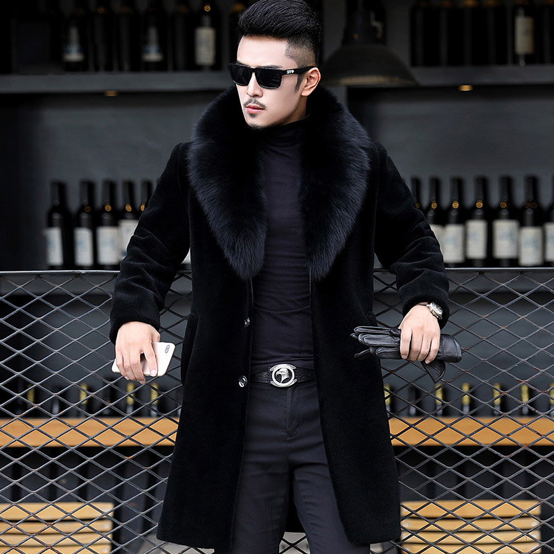 2018 Limited Real Solid No Full Palto Large Size Winter Sheep Shearing Outerwear Men One-piece Coat Long Fox Collar Jacket N453