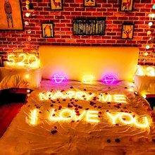 LED Holiday Neon Light DIY 26 Letter Alphabet Sign Indoor Lamp for Wedding Birthday Party Decor