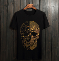 Summer Top Mens Skulls Rhinestones T Shirts Modal Cotton O Neck Short Sleeve Slim Tee Shirt