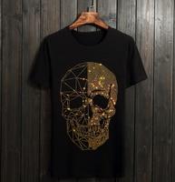 Summer Top Mens Skulls Rhinestones T Shirts Modal Cotton O Neck Short Sleeve Slim Tee Shirt