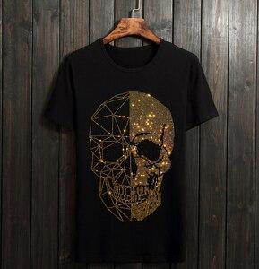 Image 1 - Yaz üst erkek kafatasları Rhinestones T gömlek Modal pamuk O boyun kısa kollu ince Tee gömlek