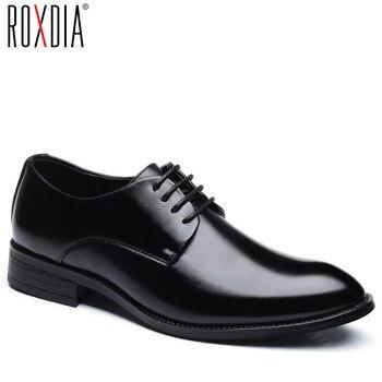ROXDIA buty ślubne męskie mikrofibry skórzane formalne biznes pointed toe dla człowiek sukienka buty męskie oxford mieszkania RXM081 rozmiar 39- 48