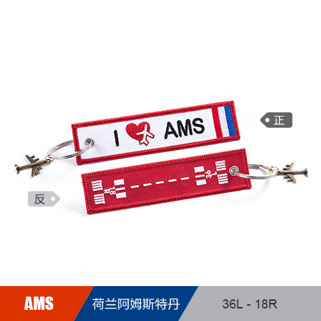 Netherlands Amsterdam AMS Airport Runway Luggage Bag Tag Embroider Metal Plane Best Gift for Flight Crew Pilot Aviation Lover