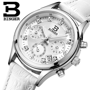 Image 1 - נשים של שעוני יוקרה מותג קוורץ שוויץ Binger עמיד למים שעון אמיתי רצועת עור הכרונוגרף שעוני יד BG6019 W4