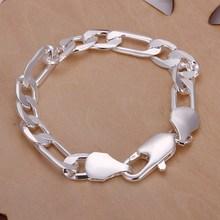 Los hombres de joyería de plata pura 925 10mm 21 cm figaro cadenas pulsera brazaletes pulseiras joyas de plata envío gratis