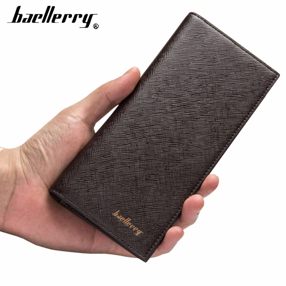 2018Baellerry PU Leather Men Wallets Long Thin Wallet Card Holder Passcard Pocket Compartment Men Purse Business Solid Money Bag baellerry ladies purse hasp bright skin long thin wax leather wallet women s functional card holder passport cover phone pocket