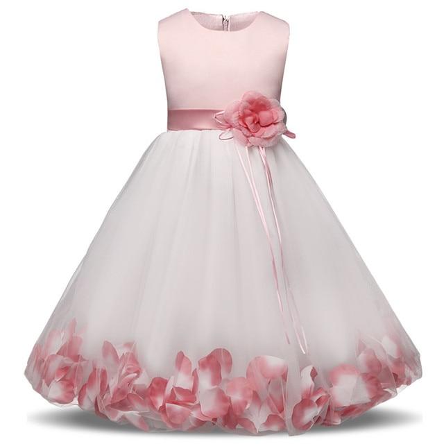New Petal Girls Party Dress Summer Wedding Flower Princess Children Clothing Size 6 7 8 Birthday