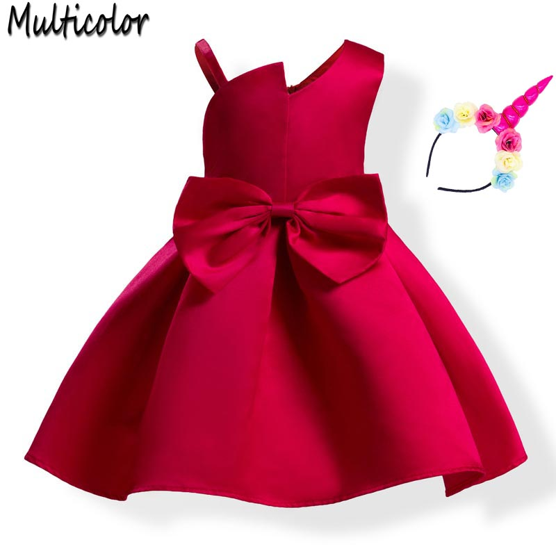 Multicolor Baby girls dress 2018 summer New Brand Princess Girl Clothes For Kids Bowknot Sleeveless Party Dress vestidos