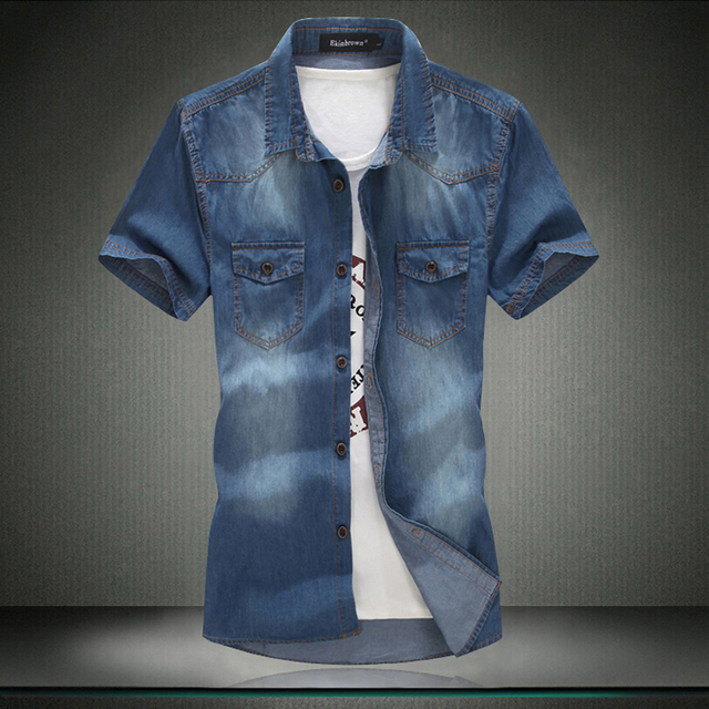 4f967675 Plus Size!Denim Men 2015 New Men Jeans Shirts Water Washing Male Tops Short  Sleeve