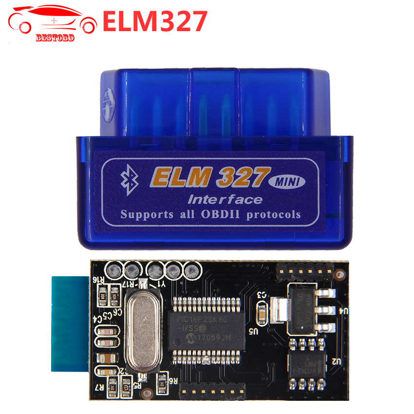 ELM327 V1.5 with PIC18F25K80 chip Bluetooth OBD2 Scan Tool ELM 327 Car Scanner Support J1850 Work on Android  Windows System