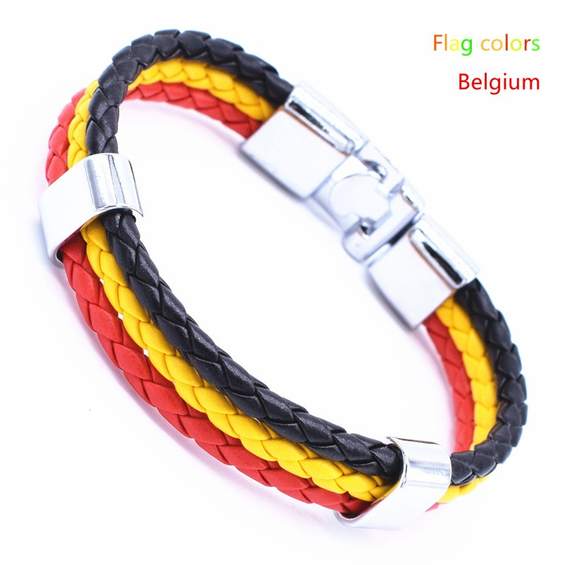 Wholesale Length 21cm 3 Strands Rope Braided Leather Chain & Link Bracelet Men Wristband National Flags Color Sports Bracelets 8