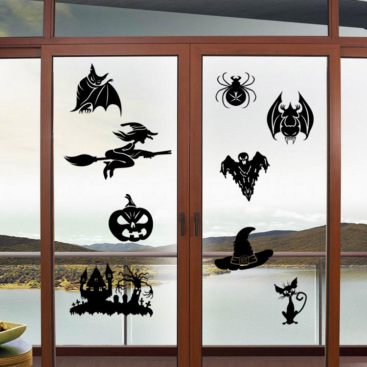 creative witch ghosts bat pumpkin decal halloween wall sticker bedroom decoration halloween window stickerschina - Halloween Window Decals