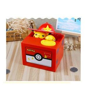 Image 2 - Marka nowy Pokemon elektronicznych plastikowa skarbonka ukraść monety skarbonka sejf na pieniądze na urodziny biurko