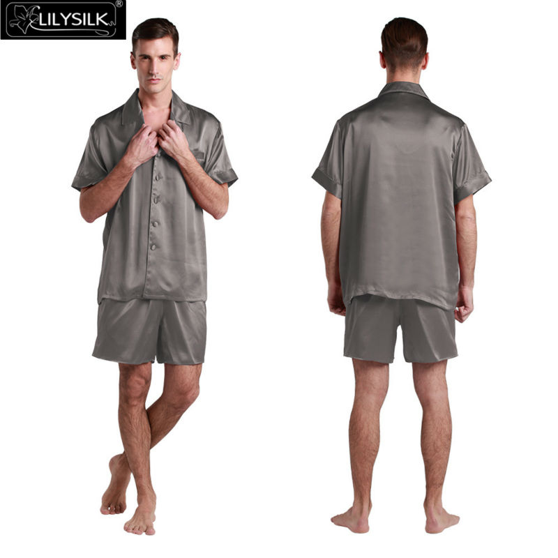 1000-dark-gray-22-momme-classic-short-silk-pyjamas-set