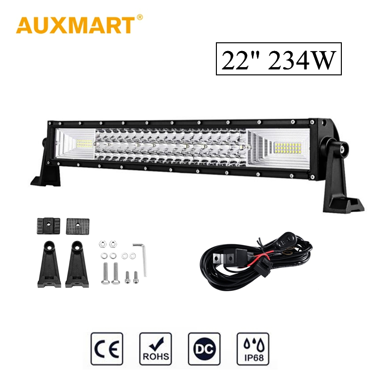 Auxmart 234W 22inch Car LED Straight Light Bar Triple Row 108pcs Chips Combo Spot Flood Beam Led Work Light Bar 12V 24V auxmart 22 led light bar 3 row 324w for jeep wrangler jk unlimited jku 07 17 straight 5d 400w led light bar mount brackets