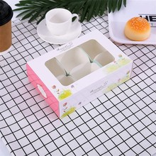 Paper Gift Box For Wedding Home Party Birthday Cupcake Box With Window Flowers Carton Muffin Cake Candy Favor Baking Packaging 50 pcs gift box packaging wedding favor paper cake box cookie candy handmade cupcake birthday party present box with window dots