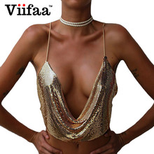 Viifaa 2017 Summer time Attractive Steel Sequins Bustier Crop Prime Ladies Halter Camisole Sleeveless Brief Tops Deep V Neck Tank Prime