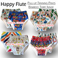 Happy Flute onesize pull-up training pants,bamboo terry inner with a sewn in insert,fit waist 36-54cm, height adjustable