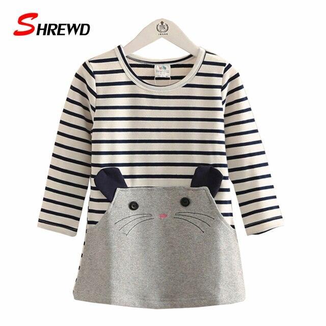 Children Girl Dress Autumn New 2016 Fahion Cartoon Striped Dresses For Girls Long Sleeve Cute Casual Children Clothing 4261W