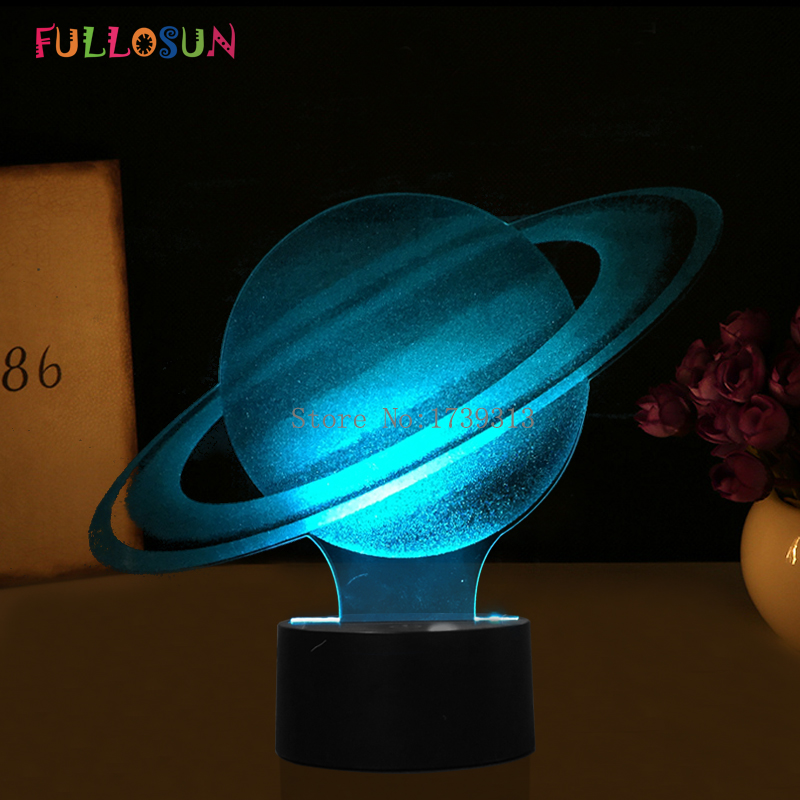 Saturn Table Lamp USB LED 3D Lights 7 Colors Novelty LED Night Lamp as Kids Toy Gifts
