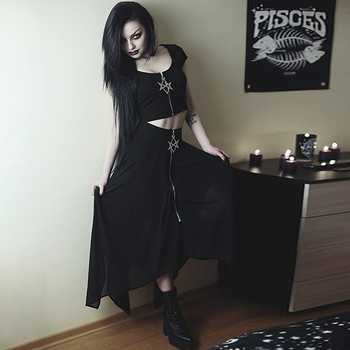 Summer Mesh Irregular Women Skirts Pentagram Zipper Black Punk Skirts Gothic Darkness Lady Skirt Casual Loose Streetwear Skirts 5