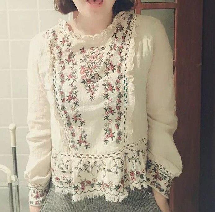 Femmes Blouse As Vêtements Col Longues Coréenne T1805028 Mode Printemps Broderie Stand Lin De Coton Nouvelle Pictures Arrivée 2018 À Manches Version qw4S4P