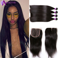 Indian Virgin Hair With Closure 4 Bundles With Closure Raw Indian Virgin Hair Straight Human Hair Extensions With Closure 4x4''