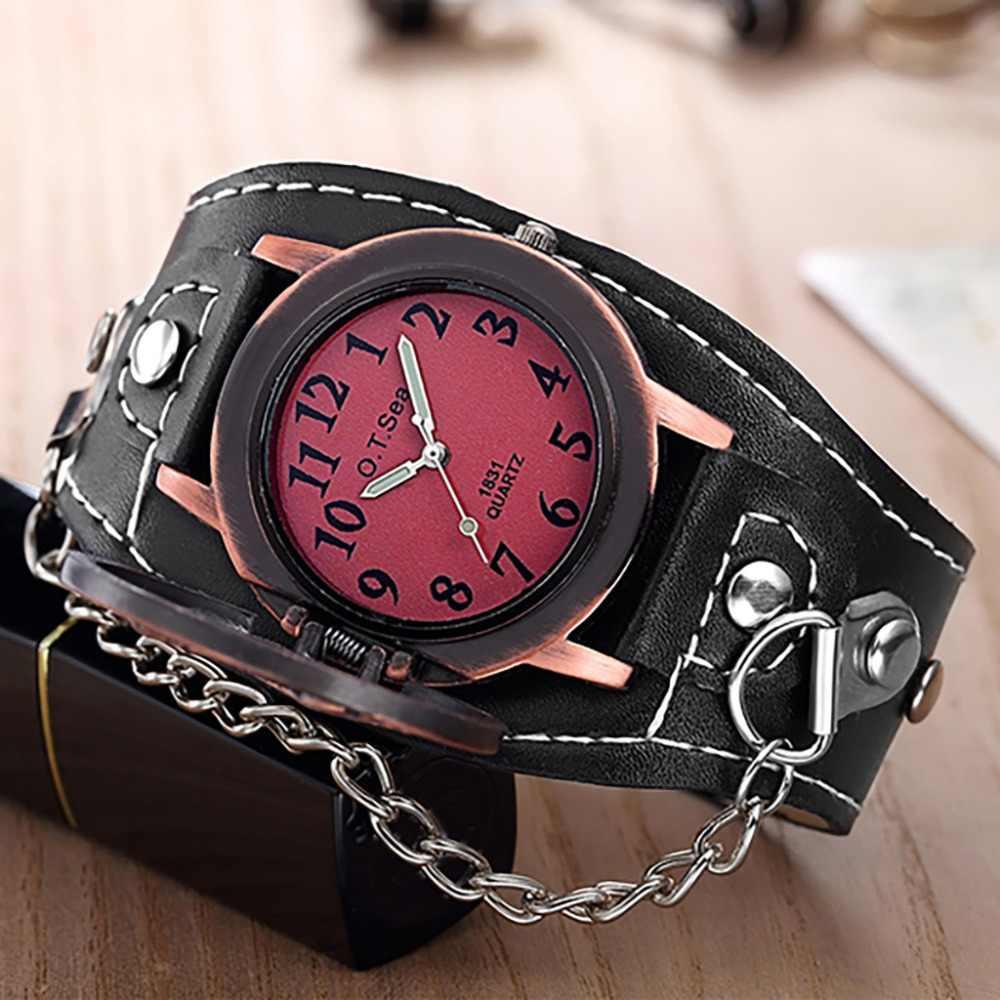 רטרו עיצוב גברים של שעונים מגניב מעופף נשר קוורץ זוג נאה פאנק שעון קסם שרשרת התהפך עור שעוני יד relogio F4