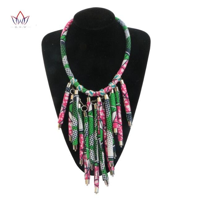 BRW Африканских Оригинальный Ручной Ожерелье Базен Riche Одежды Матч для Женщин Подарок Модные Аксессуары Настроены для Gilr WYB27