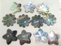 Top Drilled 10pcs Natural Abalone Shell Beads 40mm Flower Petal Leaf Pendants Rainbow jewelry