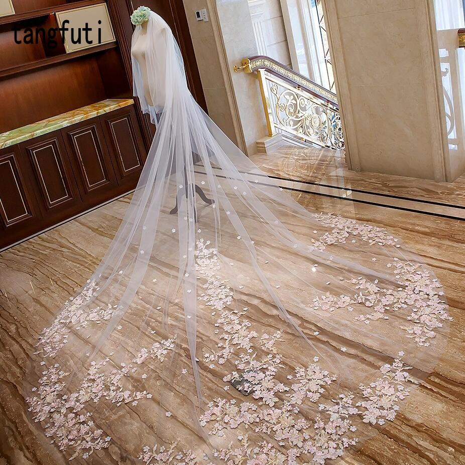 Cathedral Wedding Veil With Comb Pink Flower arrangement Appliques Soft Tulle 3m Meters Long Bridal Veil Wedding Accessories