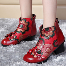 2017 autumn and winter women National trend genuine leather boots handmade vintage motorcycle ankle boots flower mother shoes