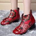 2017 outono e inverno as mulheres motocicleta ankle boots botas de couro genuíno tendência Nacional handmade do vintage flor sapatos mãe