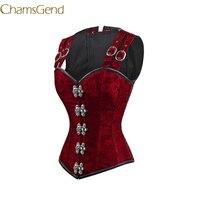 CHAMSGEND New Sexy Underbust Corset Corselet Latex Waist Women 12 Steel Bone Double Buckle Straps Lace