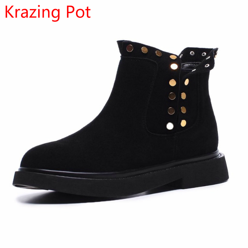 2018 hot sale cow suede rivets streetwear med heels ankle boots keep warm zipper winter boots round toe nude Chelsea boots L91 2018 superstar cow suede streetwear square toe zipper high heels winter boots keep warm office lady ankle boots for women l50