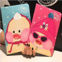 2017 new arrive cute duck pattern leather cover for ipad air1/air2 common brand quality cartoon tablet case with smart sleep