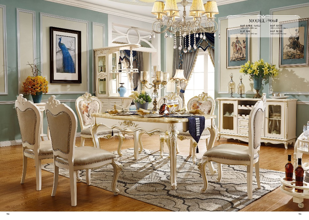 European Style Oak Solid Wood Dinning Room Furniture Set For Table And 6 Chairs Made In China