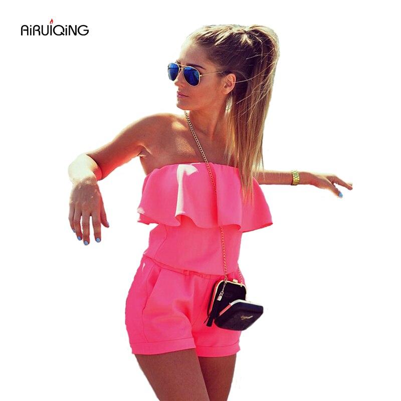 Womens Beach 2020 Summer Women Fashion Casual Ruffles Strapless Waist Tightening Candy Color Womens